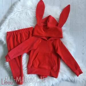 czerwony komplet króliczek welur by libou, uszy królika, welurowy dresik