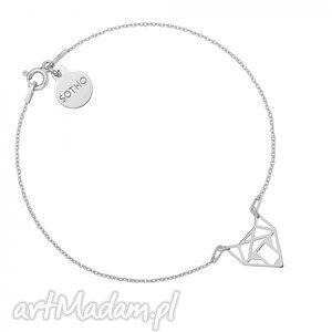 srebrna bransoletka z ażurowym lisem - minimalistyczny, zawieszka