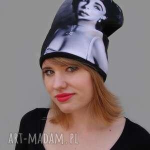 czapki czapka elizabeth taylor, czarno białe, film, twarz, nadruk, aktorka