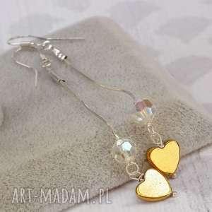 długie srebrne kolczyki z serduszkami, serca, serduszka, srebrne, srebro