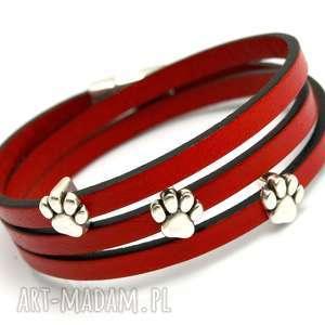BRANSOLETKA SKÓRZANA MAGNETOOS TRIPLE ANIMALLO RED, bransoletka, skóra, rzemień