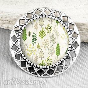 galavena broszka z grafiką w szkle plant, pin, przypinka, zieleń, zielenie, pastel
