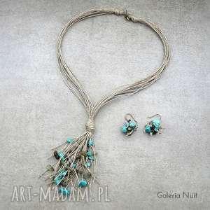 labradoryt i howlit - komplet biżuterii, naturalny, delikatny, lekki