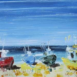 """""""chłopy przystań"""" marina czajkowska obraz, krajobraz, morze,"""
