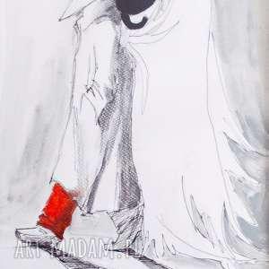 Akwarela Anielska zaduma artystki plastyka Adriany Laube, akwarela, anioł, kot