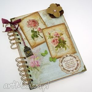 pamiętnik/ notatnik- różane retro, notes, pamiętnik, sekretnik, zapiśnik, róże
