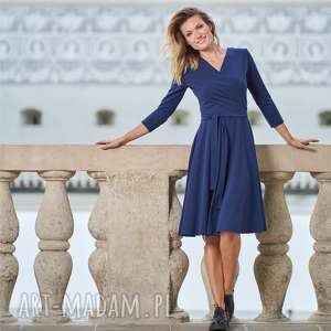 sukienki sukienka kopertowa z rękawem 3/4 atencja granatowa, sukienka