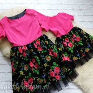 folky tiulowa góralska sukienka dla mamy i córki folk róż , sukienka
