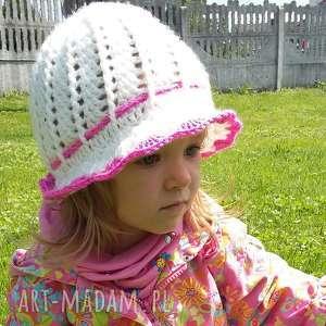 biały wiosenny kapelusik dla dziewczynki - kapelusik, kapelusz