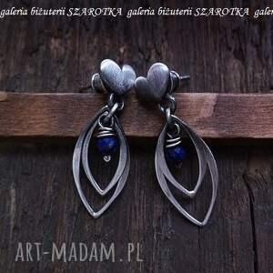 SERDECZNE kolczyki z lapisu i srebra, lapis, lazuli, srebro, oksydowane, serduszka,