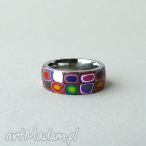 wielokolorowa obrączka, stal z polymer clay - obrączja, pierścionek, kolorowe