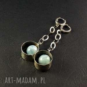 akwamaryn i obręcze, kolczyki wiszące, srebro oksydowane, 925