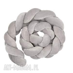 knot braid poduszka warkocz szary 140x13 - knotpillow, styl skandynawski, ochraniacz