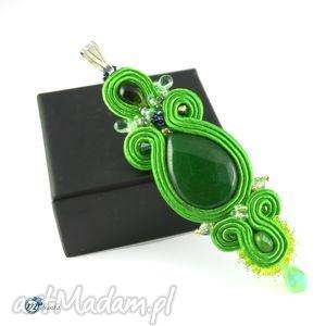 Zielony sutaszowy wisior - ,sutasz,soutache,wisior,zawieszka,