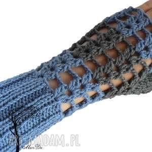 Bezpalczatki #11, mitenki, jeansowe, ażurowe, szydełkowe