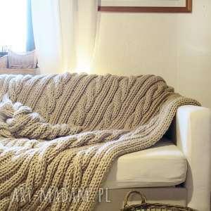 Wełniany pled w warkocze 130 x 160 cm, pled, koc, narzuta, wełna, duży, gruby