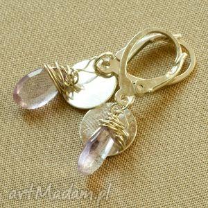 oryginalny prezent, tilia pracownia kolczyki z ametystu i srebra, briolette, ametyst