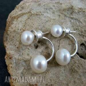 Dwie perły kolczyki, perły, sztyfty