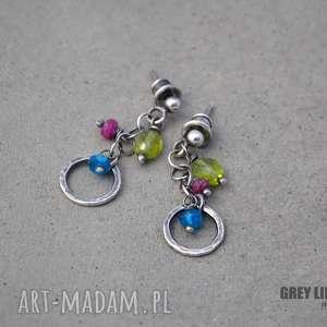 małe kolorowe, srebro, apatyt, rubin, peridot