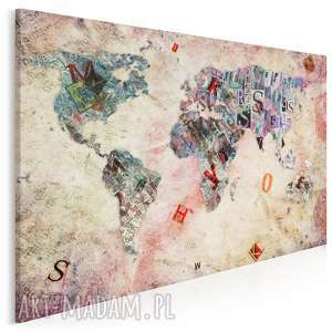 obraz na płótnie - mapa litery 120x80 cm 18501, mapa, litery, kontynenty