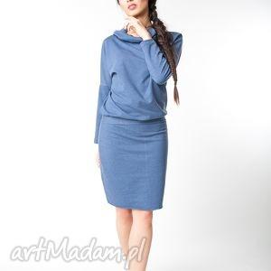 s/m sukienka z kapturem indygo, bawełna, dzianina, wiosna, eko, kaptur, luźna