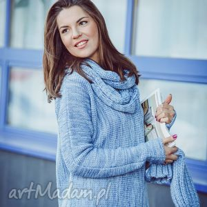 Niebieski melanżowy sweter z kominem - ArtHermina, wełna, komin, niebieski, melanż