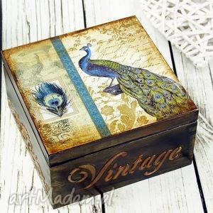 świąteczny prezent, pudełko - paw, pudełko, drewniane, szkatułka, na, biżuterię