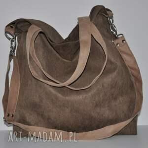 na ramię torba hobo xxl - brąz, beż, hobo, alcantra, eko nubuk, wegańska, worek