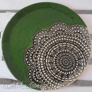 ceramika zielony talerz z koronką, ceramiczny, talerz, dekoracyjny, dekoracyjna