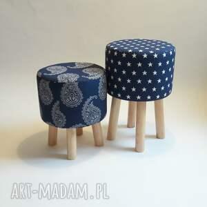Pufa Niebieskie Paisley, pufa, taboret, stołek, paisley, gruszka, łezka