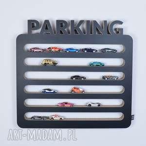 półka na resoraki, samochodziki parking czarny, chłopiec, dziewczynka