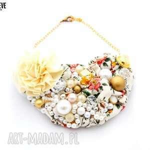 kwiaty we wŁosach naszyjnik handmade - naszyjnik, kolorowy, wielobarwny, kwiaty