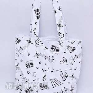 torba muzyczna na zakupy shopperka nuty muzyka instrument biała podszewka