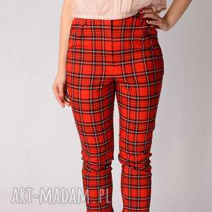 Bawełniane spodnie w kratkę z koronką non tess krata, kratka