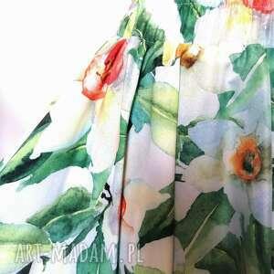 spódnica w żonkile, z koła, kwiaty, na wesele