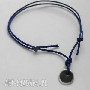 OKRĄG bransoletka, srebro, oksydowane, sznurek