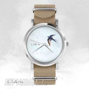 Prezent Zegarek, bransoletka - Jaskółka beżowy, nato, zegarek, bransoletka, nato