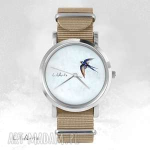 handmade zegarki zegarek, bransoletka - jaskółka - beżowy, nato