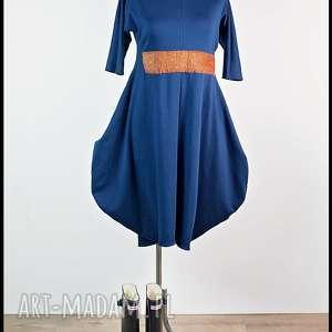 Niebo nad Marokiem-sukienka, oryginalna, dresowa, kobaltowa, maxi, sukienka
