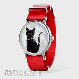 Prezent Zegarek, bransoletka - Czarny kot, szary czerwony, nato, zegarek