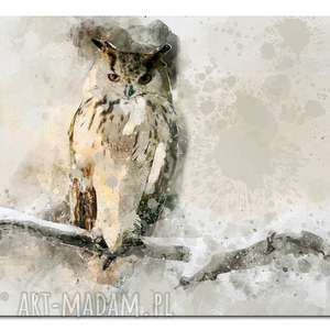 obraz duże SOWA 1 -160x90cm na płótnie szary biały beż czarny ptak designe zam