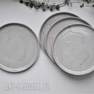 ceramika zestaw deserowych talerzy z koronką - 4 szt, ceramika, koronka, talerz