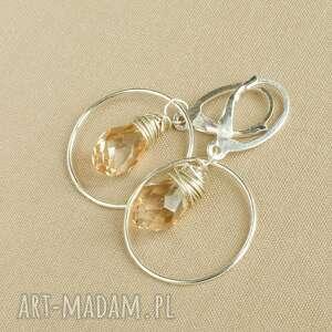 kolczyki ze srebra z kryształkiem, tilia, eleganckie