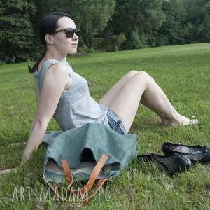 handmade na ramię torba tote xxl - zieleń