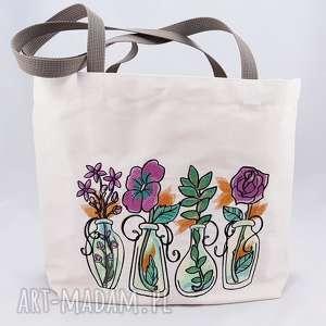 eko torba zakupowa z haftem, zakupowa, torba, torebka, haft, sukulenty, rośliny