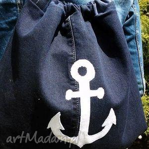 ręcznie zrobione plecak - worek z kotwicą