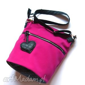 hand-made na ramię pink hobo torebka