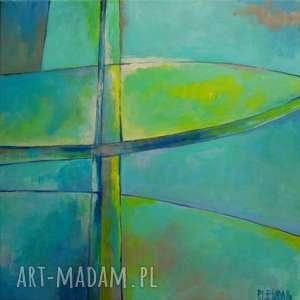obraz na płótnie - abstrakcja w zieleniach format 40/40cm, abstrakcja, turkus