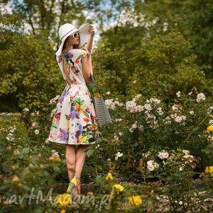 Sukienka INES Midi Justine , kwiaty, beż, midi, plecy, klosz, lato