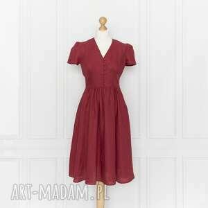 sukienki rosalia sukienka lniana, malina, rosalia, midi, len, marszczona